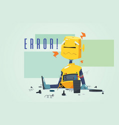 Broken robot showing error concept vector