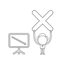 Businessman character holding up x mark with vector