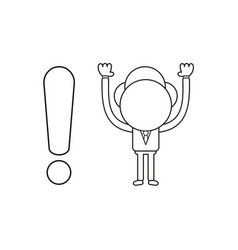 businessman character with exclamation mark black vector image