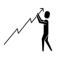 businessman holdin growth arrow progress vector image