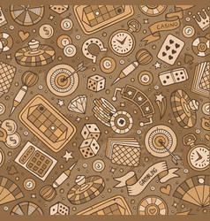 cartoon hand-drawn casino games seamless pattern vector image