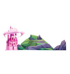Cartoon magic pink castle and green hill vector