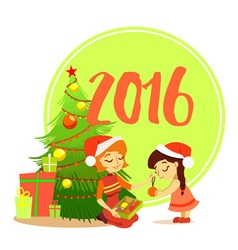 Cartoon mother with daughter decorating christmas vector