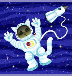 cat astronaut in outer space vector image