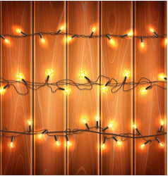 Christmas lights realistic garland on wood vector