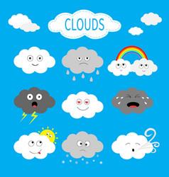 cloud emoji icon set white gray color fluffy vector image