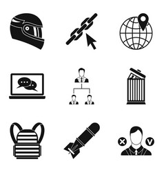 Conquest icons set simple style vector