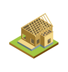 Construction structure of house isometric 3d icon vector