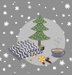cozy hygge christmas things on seamless doodle vector image