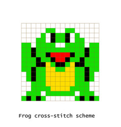 cross-stitch pixel art frog animals set vector image