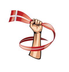 Denmark flag and hand on white background vector
