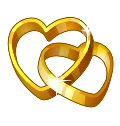 Detailed Icon Heart Rings isolated on white vector
