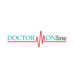 doctors mobile app sign pulse line doctor online vector image