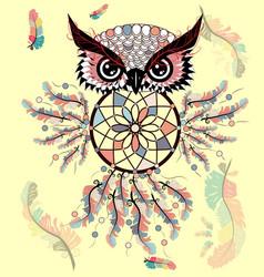 dreamcatcher with owl zentangle abstract bird vector image