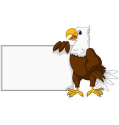 Eagle cartoon with blank sign vector