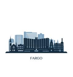 Fargo skyline monochrome silhouette vector