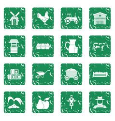 Farm icons set grunge vector