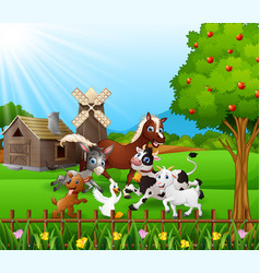 farmer background with the animals play together vector image