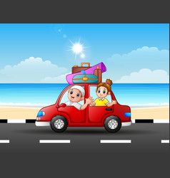 father and daughter traveling in a car vector image