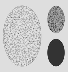 Filled ellipse mesh wire frame model and vector