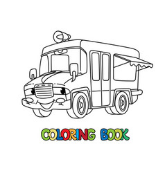 Funny ice cream truck with eyes coloring book vector