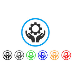 Gear maintenance hands rounded icon vector