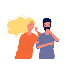 gossiping male female woman speaking with man to vector image