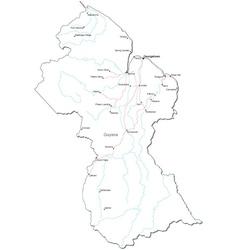 Guyana Black White Map vector image