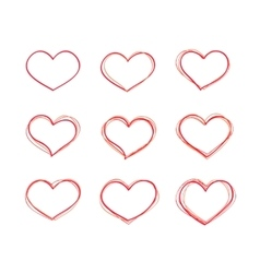 Hand-drawn red heart shapes set vector image