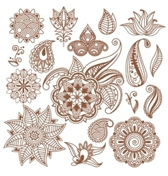 Henna tattoo Mehndi Abstract floral vector