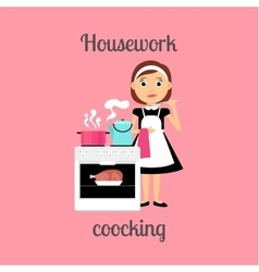 Housekeeper woman cooking vector image