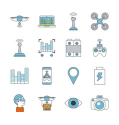 icons set drone technology vector image