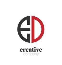 initial letter ed creative elegant circle logo vector image