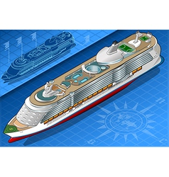 Isometric Cruise Ship in Front View vector