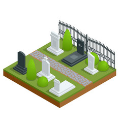 Isometric rows tombstones in cemetery isolated vector