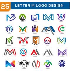 letter m logo set vector image