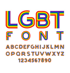 Lgbt font rainbow letters abc for symbol of gays vector