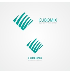 Logo combination of a cube and waves vector image