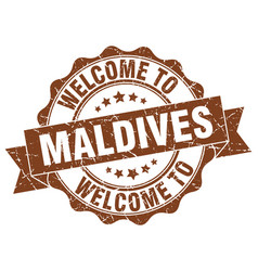 maldives round ribbon seal vector image vector image