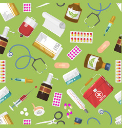 medicine seamless pattern first aid kit vector image