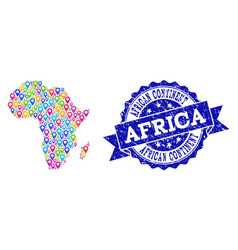 Mosaic map of africa with map markers and textured vector