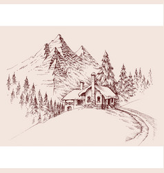 Mountain refuge hut winter alpine landscape hand vector