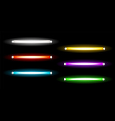 neon tube lamps long fluorescent colored bulbs vector image