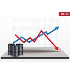 Oil barrels on the price chart background vector