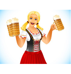oktoberfest girl beer glass germany holiday vector image