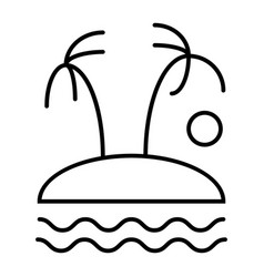 palm trees on island thin line icon tropical vector image