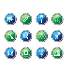 Park objects and signs icons vector