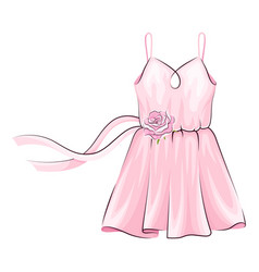 Pink dress with flared skirt and ribbon adornment vector