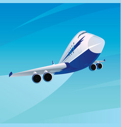 plane in sky with trail in good weather vector image