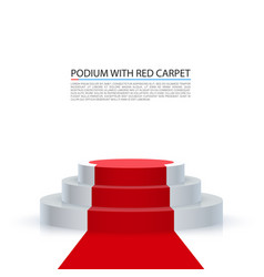 podium with red carpet red stairs background vector image